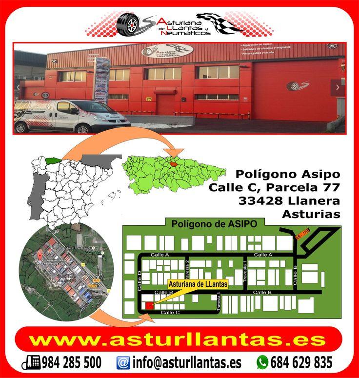 Estamos en Pol. ASIPO c/c parc.77 - Llanera - Asturias - España. Visita nuestra web www.asturllantas.es allí te informaremos, tlf o wasap. Neumáticos, mecánica, venta y reparación de llantas, alineado 3D, enderezado, soldadura, pulido, pintura, decapado, chorreado etc.