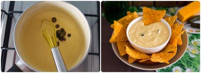Salsa de queso picante para nachos