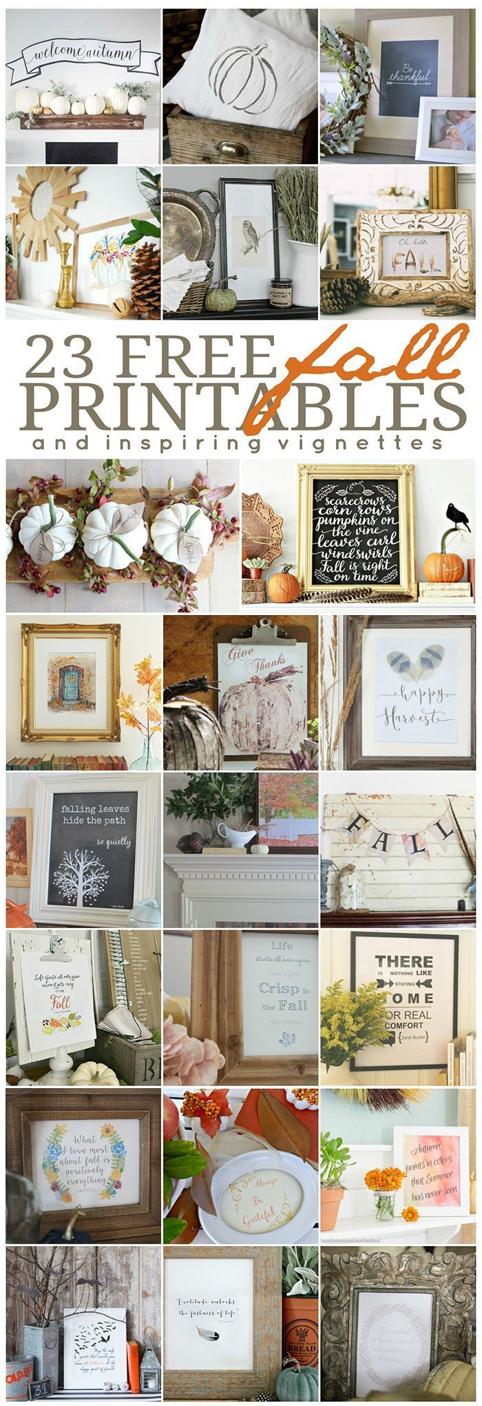 Choose one of these 23 inspiring free fall printable. Perfect fall art or frame…