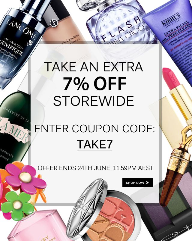 Take an EXTRA 7% off your entire order at The Beauty Club. Enter coupon code TAKE7 in the coupon field at checkout. Hurry, 3 days only!