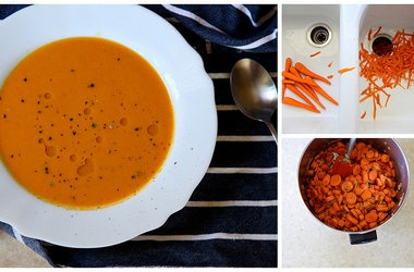 Carrot Ginger Coconut Soup and Kale Chips Recipes. #Recipes