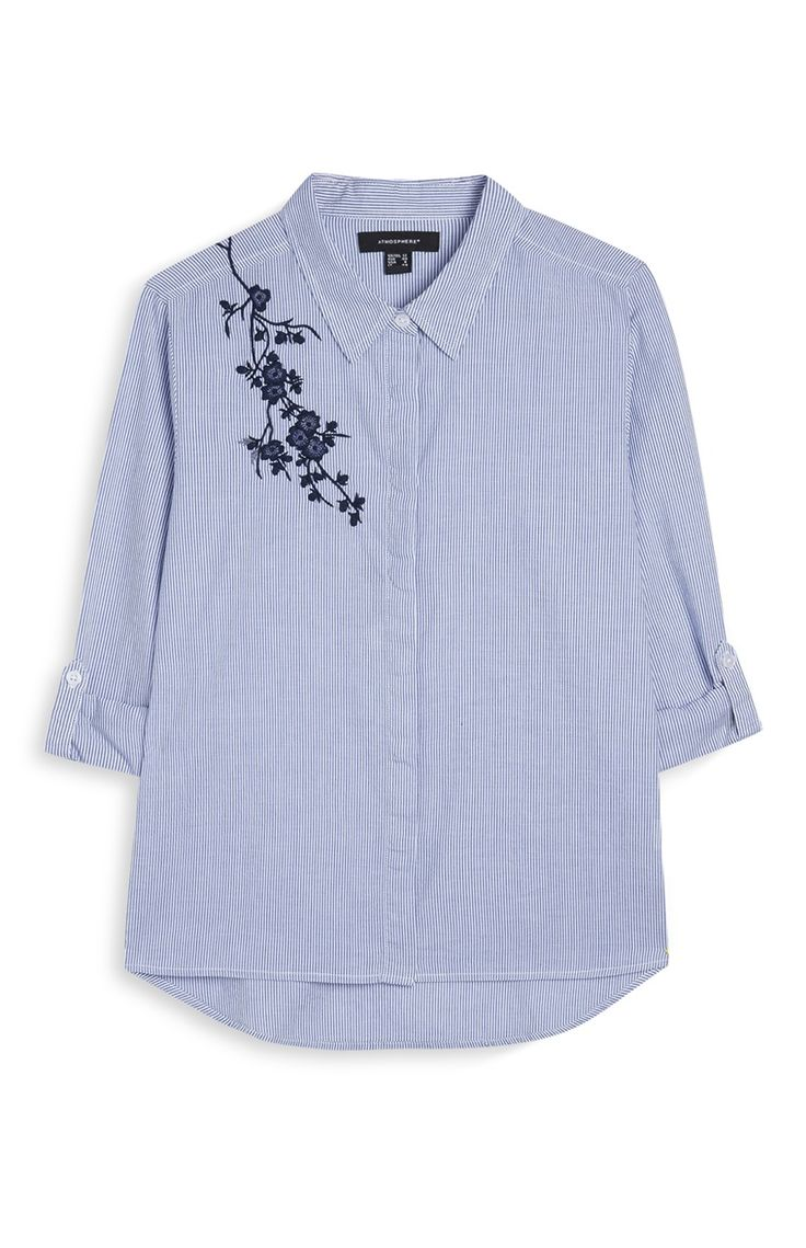 Camisa bordada a rayas