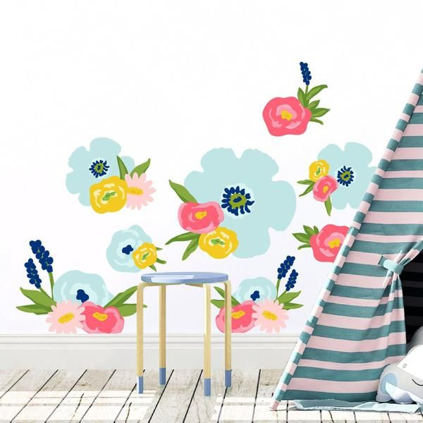 Removable Reusable Sprint Flower Wallpaper Stickers Will Make Your Toddlers Room Fun And Bright Fabric Wall