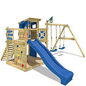 WICKEY Climbing tower Smart Camp Wooden playhouse Climbing frame with sloping wooden roof sandpit climbing wall, blue tarp + blue slide