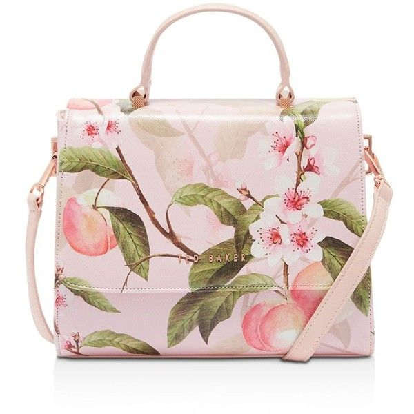 Ted Baker Deanna Peach Blossom Crosshatch Small Tote ($179) ❤ liked on Polyvore featuring bags, handbags, tote bags, flower tote, handbags totes, ted baker tote bag, flower handbags and flower tote bag