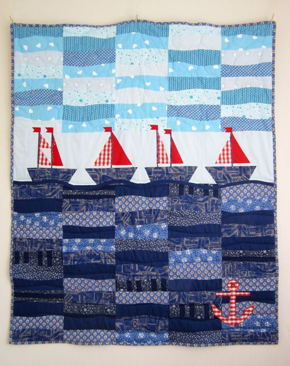 Patchwork Quilt with Sailboats, Nautical Quilt, Nursery Quilt ...
