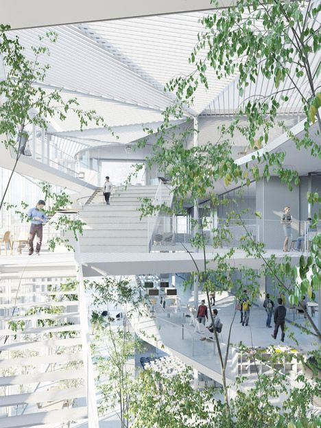 Sou Fujimoto winning proposal for Université Paris-Saclay campus envisioning trees and balconies