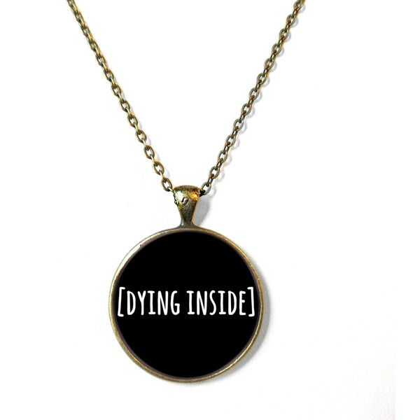 Black Funny [Dying Inside] Necklace, Sarcastic Bubblegum Soft Grunge... ($15) ❤ liked on Polyvore featuring jewelry, necklaces, pastel necklace, gothic necklaces, gothic jewelry, goth jewelry and gothic jewellery