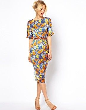 Wiggle Dress In Floral Print With Belt at ASOS