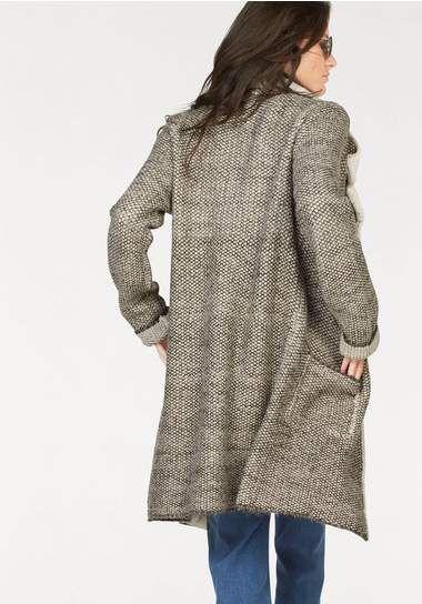 ANISTON gebreide mantel, meer een dik vest €69,95 ecru/wolwit/bruin