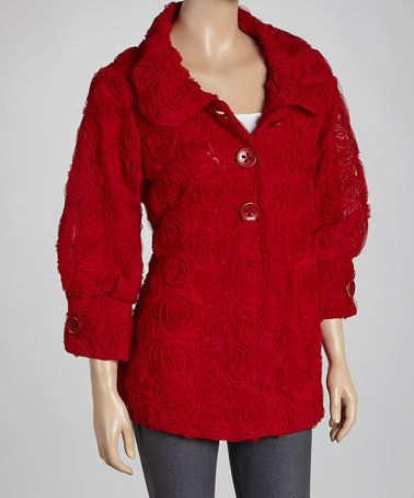 Take a look at this Red Rosette Jacket by Come N See on #zulily today!: Collars Jackets, Woman Fashion, Rosette Romances, Fashion Style, Jackets Zulili, Jackets Coats Vest Heavy, Rosette Jackets, Red Rosette, Jacketscoatsvestsheavi Blazers