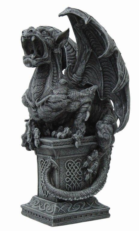 gothic gargoyles   CHIMERAS WILD GARGOYLE ROARING ON PEDESTAL STATUE GOTHIC FIGURINE