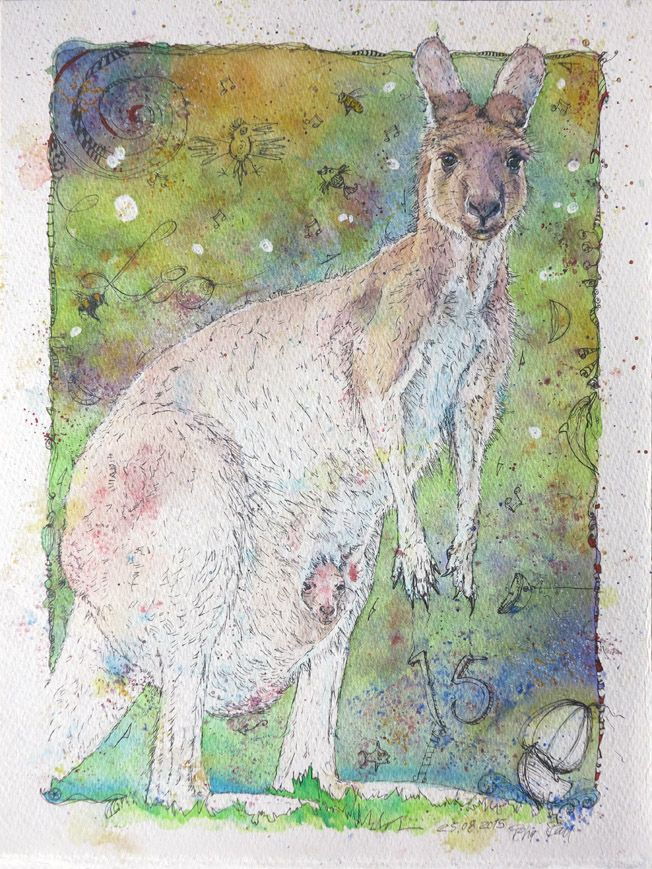 'Kangaroo with its Young in pouch' Watercolour Mijello_Mission Gold Class and Ink-pen on Saunders Waterford by St Cuthberts Mill, 638g/m2.  24 cm x 32 cm