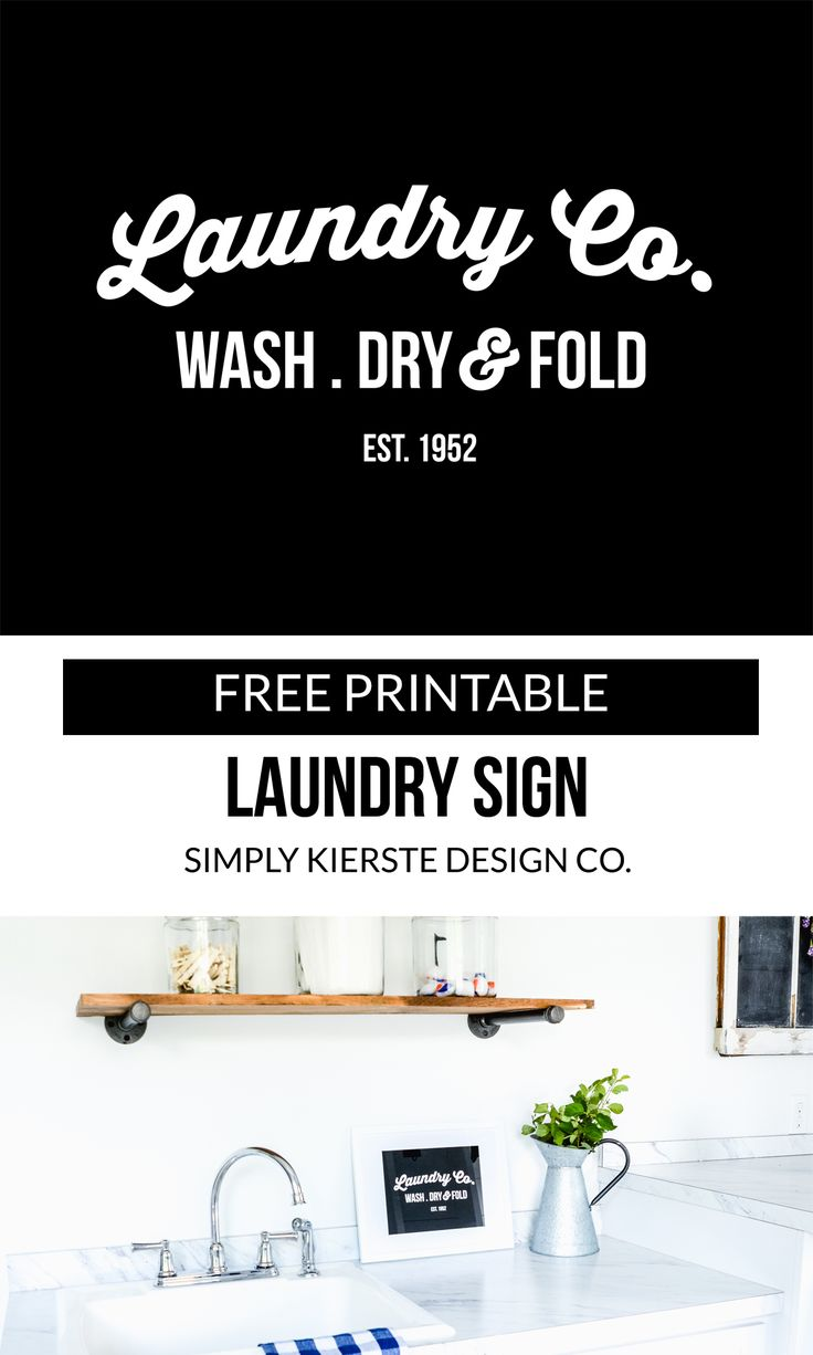 Printable Laundry Sign | simply kierste.com | Add farmhouse style and charm quickly and easily with this adorable Free Printable Laundry Sign! It's perfect for a shelf, counter, or wall!