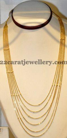 Fancy Light Weight Chandraharam   Jewellery Designs