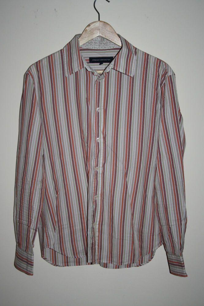 French Connection Fashion Designer Men s Shirt Striped Multi Cotton Blend Size L