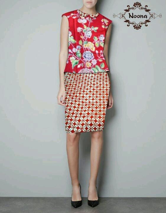Two pieces batik dress kawung buketan