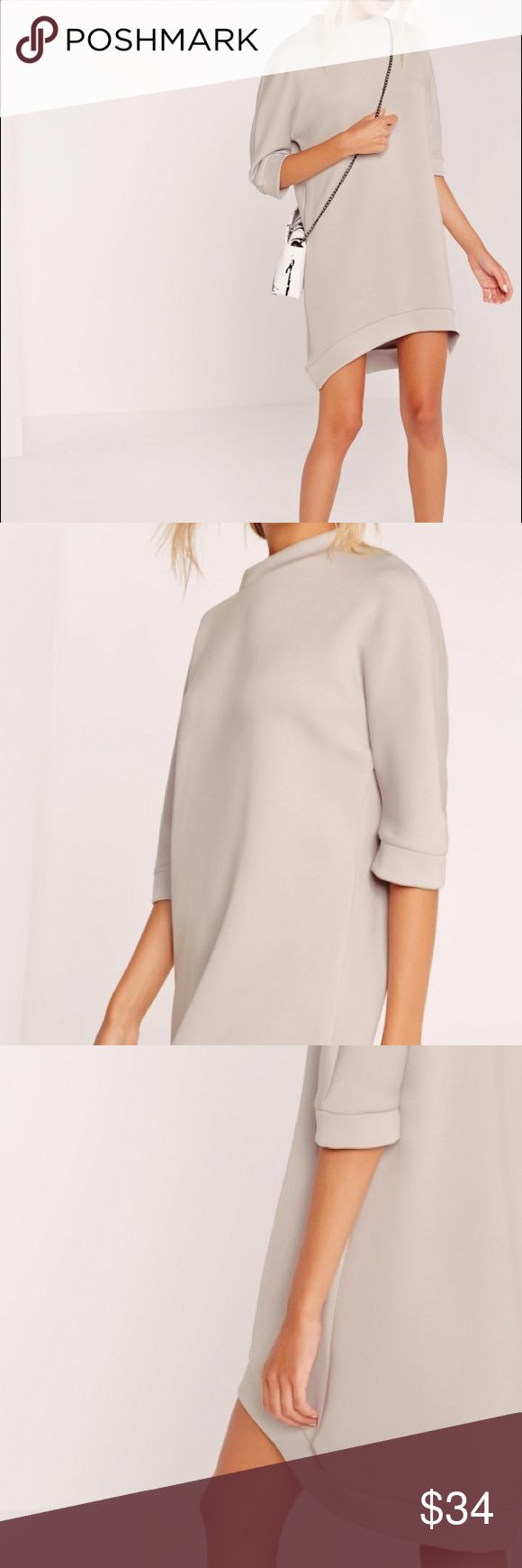 """Missguided curve hem scuba dress sometimes we just don't have time for figure enhancing dresses and we need something a bit more chilled. so may we welcome this beaut grey scuba t-shirt dress; in a sleek and simple cut with a curved hem wear with black suede ankle boots and a parka jacket for a totes babin' look you can rock to work or for the weekend.   oversized fit   95% polyester 5% elastane   approx length 83cm/33"""" (based on a uk size 8 sample)   bella wears a uk size 8 / eu size 36…"""