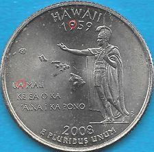 2008 P - HAWAII - STATE QUARTER ERROR COIN - REV- OBV DIE CHIPS - UNCIRCULATED