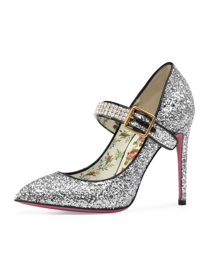 Gucci Sylvie Glitter Mary Jane Pump | Buy ➜ http://j.mp/2vsCXDp