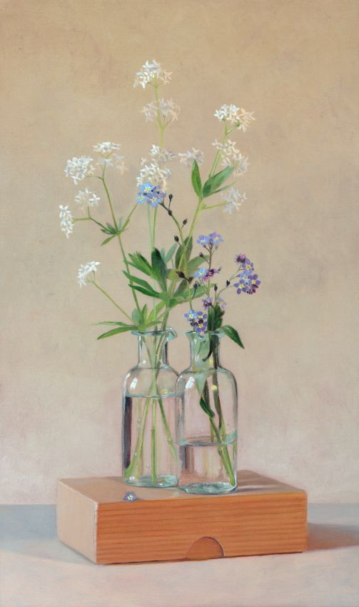 "Realistic painting in oilpaint. Stillife ""Forgetmenots"" www.nataschavandenberg.com"