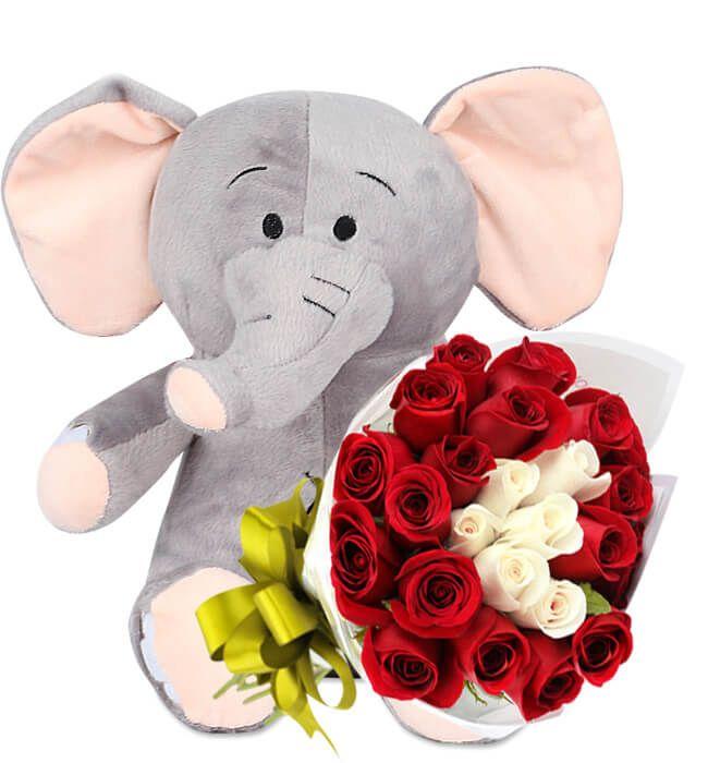 Regalo Peluche Elefante con Rosas a domicilio en Monterrey Nuevo León. Regalos desde $290|Entregas el Mismo Día de 3 a 5 Hrs a todo México.