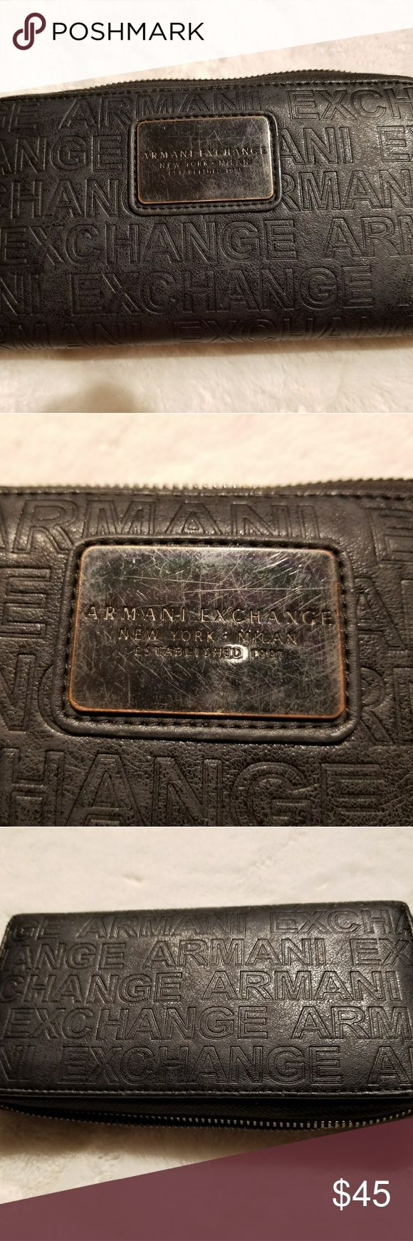 AE Black wallet Used it pretty often. Metal is scratched. But no other damage to it. Many layers, pretty comfortable. Give me BO Armani Exchange Bags Wallets