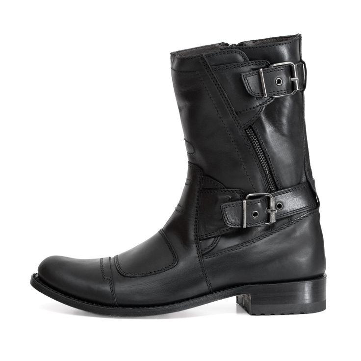 Sendra 8279 Men Biker Cowboy Boots Black Leather Western Bike Handmade size UK 8 / EU 42