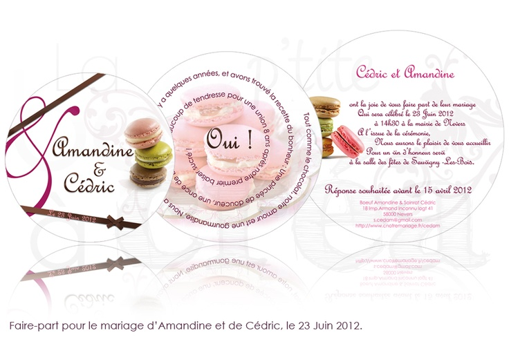 Wedding Invitations circle, macaroon theme - Faire-part de mariage rond, thème macaron