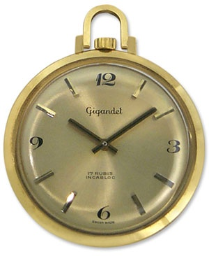 Gigandel 14kt Gold Mens Vintage Open Face Pocket Watch - 1970's