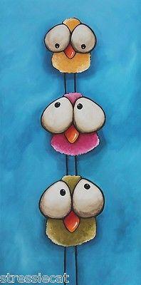 "Pintura de Acrílico Original Fine Art Lona Caprichoso Aves Torre 12 x 24 "" | eBay"