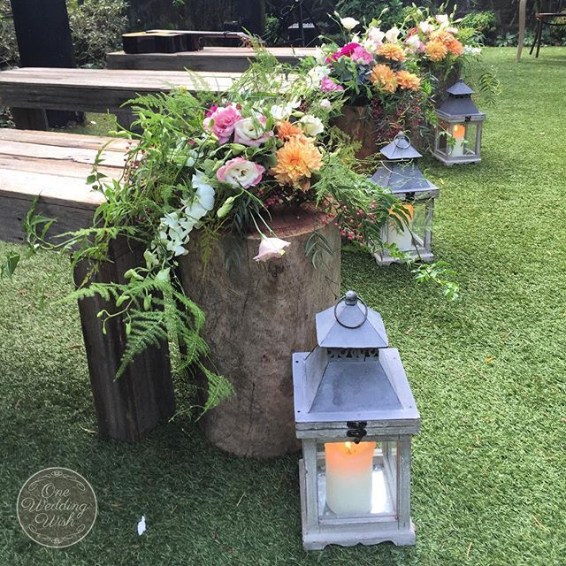 Ceremony aisle at Chateau Wyuna  Natural, rustic and enchanting   Creative direction and wedding styling by One Wedding Wish