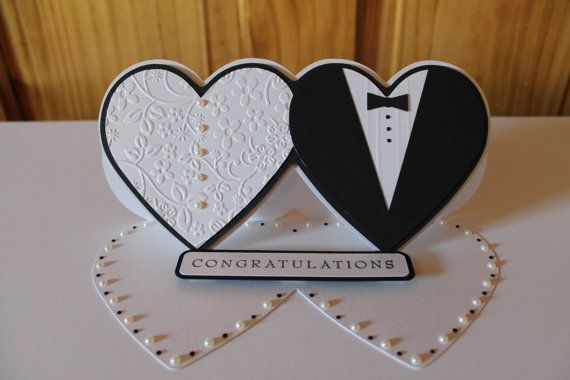 Custom Wedding Card, Personalised Bride And Groom Card, With Complementary Presentation Box, Handmade Wedding Card, Easel Card, Heart Card