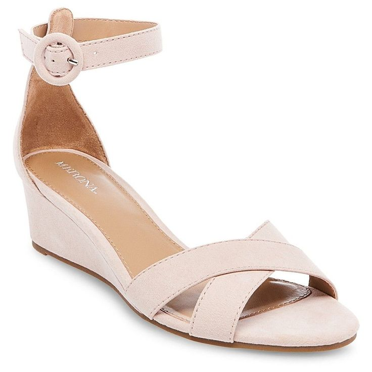 Women's Izabella Wedge Pumps with Ankle Straps - Blush 5.5