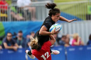 Amy Wilson-Hardy is sin-binned for this tackle on Ruby Tui.