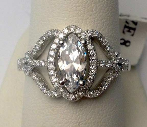 Marquise Halo CZ Solitare Vintage Engagement Bridal Wedding Ring- RG221532323577 rather would have colored stone on center