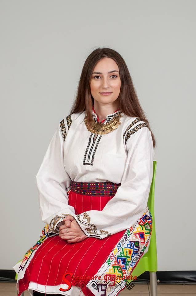 Simona Niculescu wearing a traditional costume from Baragan. Hand made .