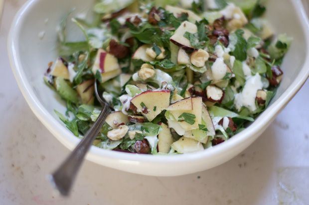 Heirloom Apple Salad  Recipe  - The sort of hearty salad I love - heirloom apples, shaved celery, and toasted nuts of your choosing. The dressing is crème fraîche spiked with rosemary, garlic and champagne vinegar - from 101Cookbooks.com