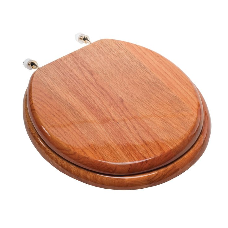 Comfort Seats Designer Solid Round Wood Toilet Seat With Hinges Seat  Finish: Oak, Hinge Finish: Brushed Nickel