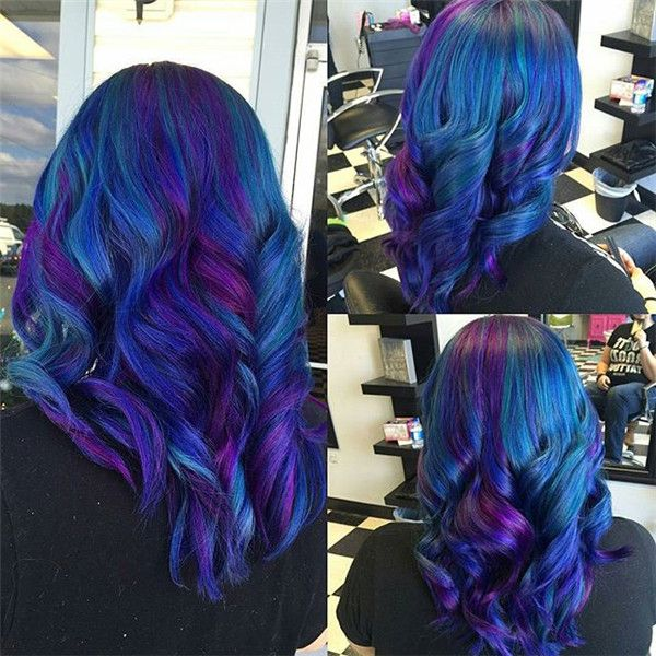 Natural wavy hairstyle plus Galaxy Hair Color, the final effect is amazing