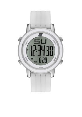 Skechers  Womens White Silicone Digital Watch