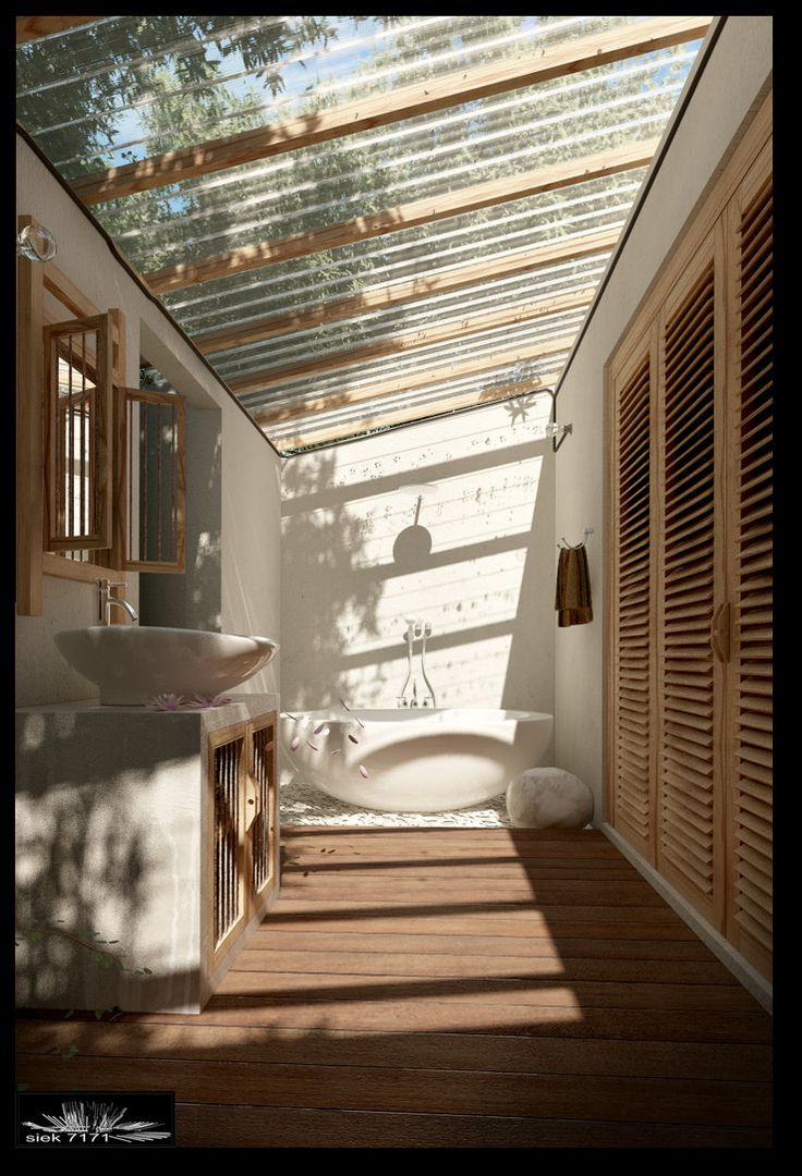 Exterior. Home Exterior Decking Ideas. Modern Rustic Style Semi Outdoor Bathroom Feature White Freestanding Oval Bathtub And Wooden Bathroom Floor Deck And Clear Ceiling Screen Cover Together With Freestanding Concrete Vanity Cabinet With White Vessel Sink