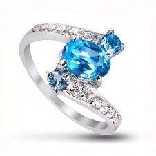 Inel logodna argint 925 piatra semipretioasa Blue Topaz si placat cu rodiu