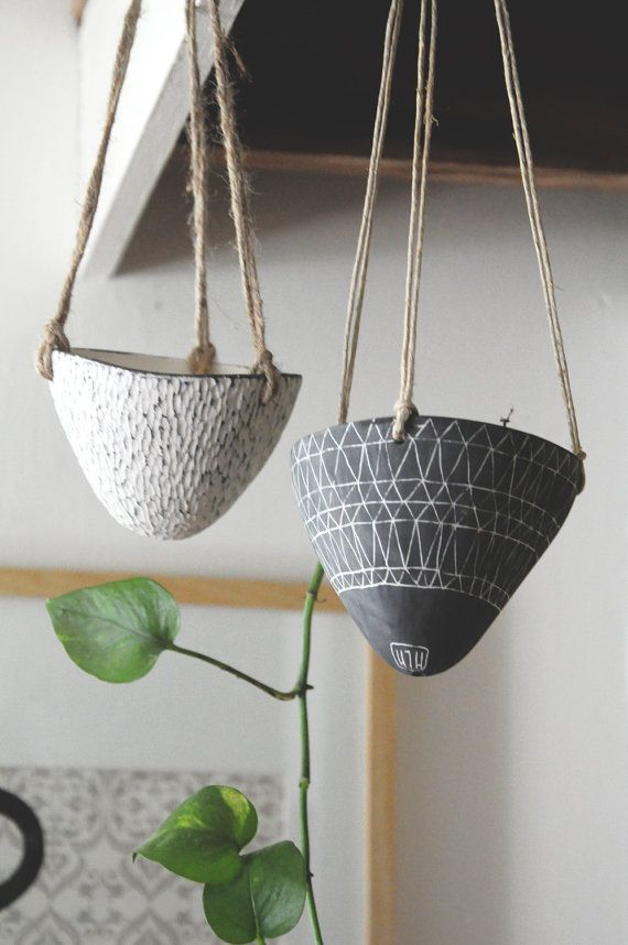Made to Order // Geo-Triangle Design Black and White Ceramic Hanging Planter // Succulent Planter on Etsy, $38.00