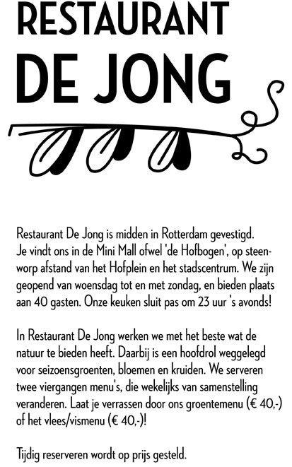 Restaurant de Jong te € 40 voor een viergangen menu