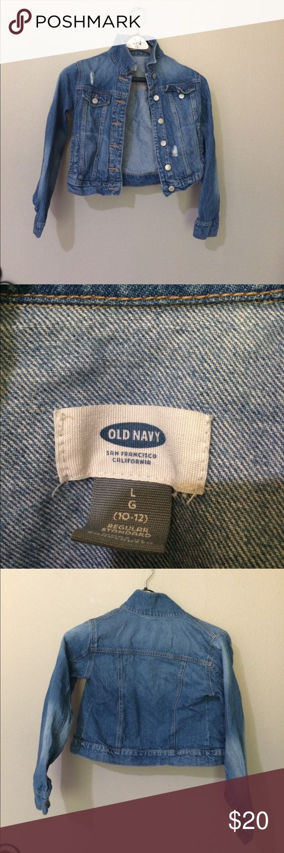 Cropped jean jacket by old navy Cropped jean jacket has some rips however they were meant to be there on the jacket. Overall great condition. Worn several times. Old Navy Jackets & Coats Jean Jackets