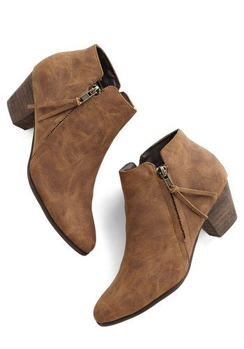 Here, There, and Everywhere Bootie in Taupe by Chelsea Crew - Mid, Faux Leather, Tan, Solid, Exposed zipper, Better, Variation