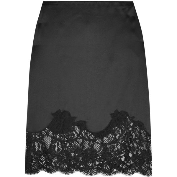 Givenchy Lace-trimmed silk-satin skirt ($1,190) ❤ liked on Polyvore featuring skirts, givenchy, givenchy skirt, slip skirt, lace trim slip and lace trim skirt