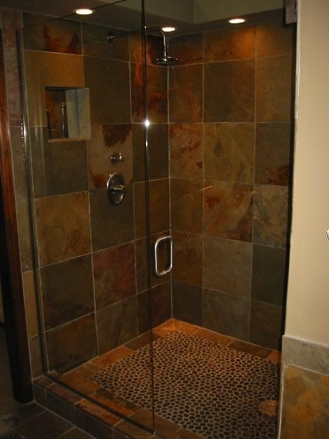 slate shower...ideas to go with cheap tile I just found at Home Depot, love the river rock bottom