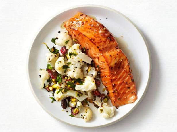Soy-Maple Salmon - Really good! I roasted the cauliflower in the oven instead of microwaved (WAY BETTER) - added some extra seasonings, too. Delish!